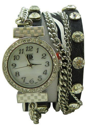 DESIGNER INSPIRED WRAP AROUND BRACELET WATCH-BLACK/ZEBRA GENEVA PLATINUM ID. $39.99