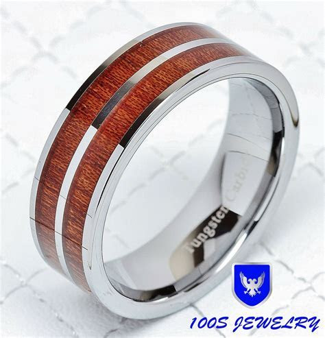 8mm Mens Tungsten Carbide Wood Inlay Wedding Band