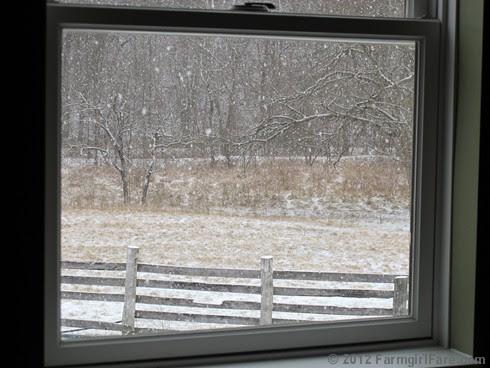 Snowfall through the upstairs windows 2 - FarmgirlFare.com