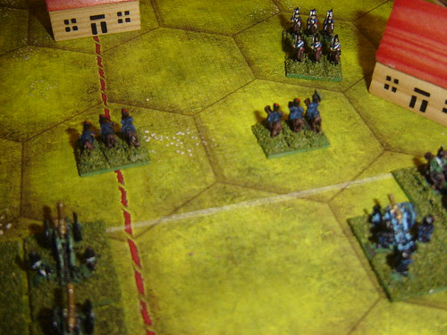 Retreating hussars block fire from their batteries