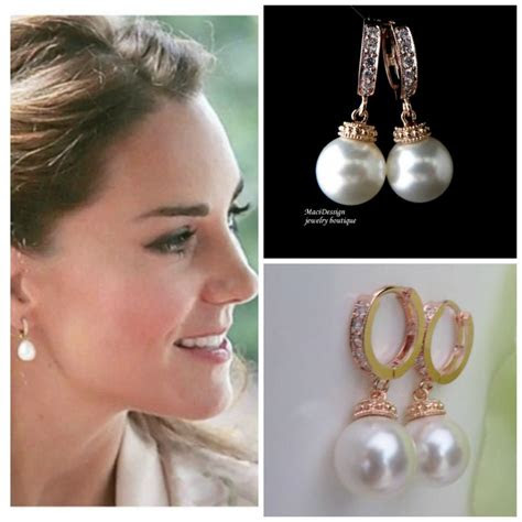 kate middleton replica earrings perfect  pearls kate