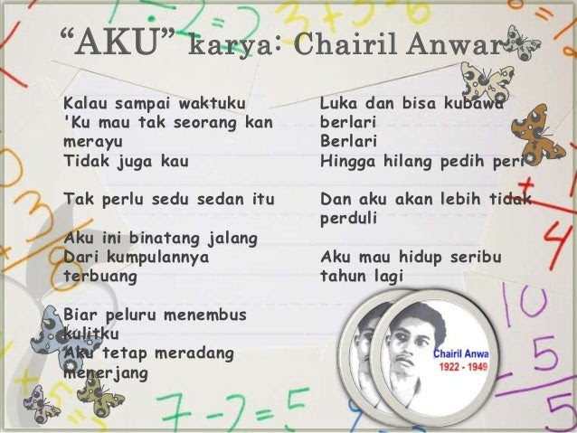Image result for puisi aku karya chairil anwar