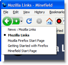Firefox 3 Windows XP integrated history menu