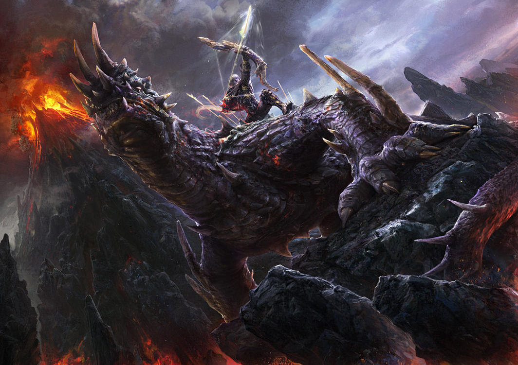 Fantasy Digital PaintingsThe King Of Volcano by noah kh