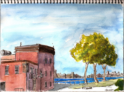 Sketchcrawl 24: View of Manhattan from Governors Island