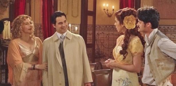 """Da esquerda para a direita, os atores Maria Padilha, André Arteche, Maria Clara Gueiros e Álamo Facó em cena de """"Lado a Lado"""""""