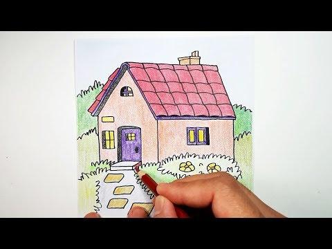 Cara Menggambar Rumah Sederhana Untuk Anak Dan Mewarnai Dengan