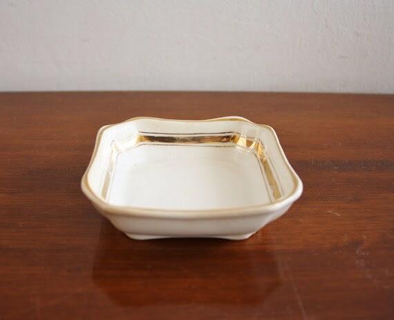 Vintage porcelain dish with gold trim