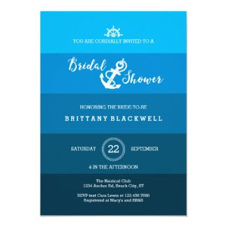 Ombre Nautical Anchor Bridal Shower Invitation