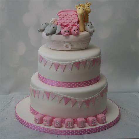pink noahs ark  tier christening cake