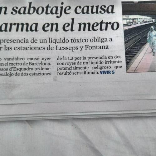 Sabotaje en la Linea 3 del metropolitano #barcelona #tmb (en Fairmont Rey Juan Carlos I)