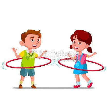 小さな男の子と女の子バトントワリング色 Huha フープベクトルフラット