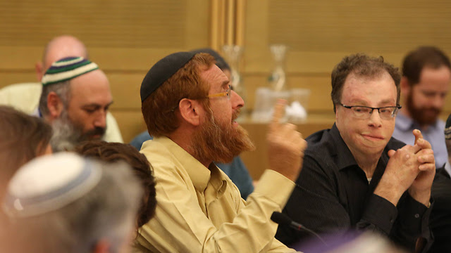 Glick at the Knesset, several days before the shooting (Photo: Gil Yohanan)