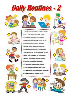 Daily routine, subject-verb agreement   ESL Level 1 Vocabulary ...