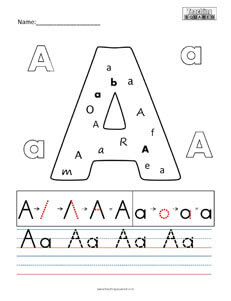 Letter A practice teaching worksheets