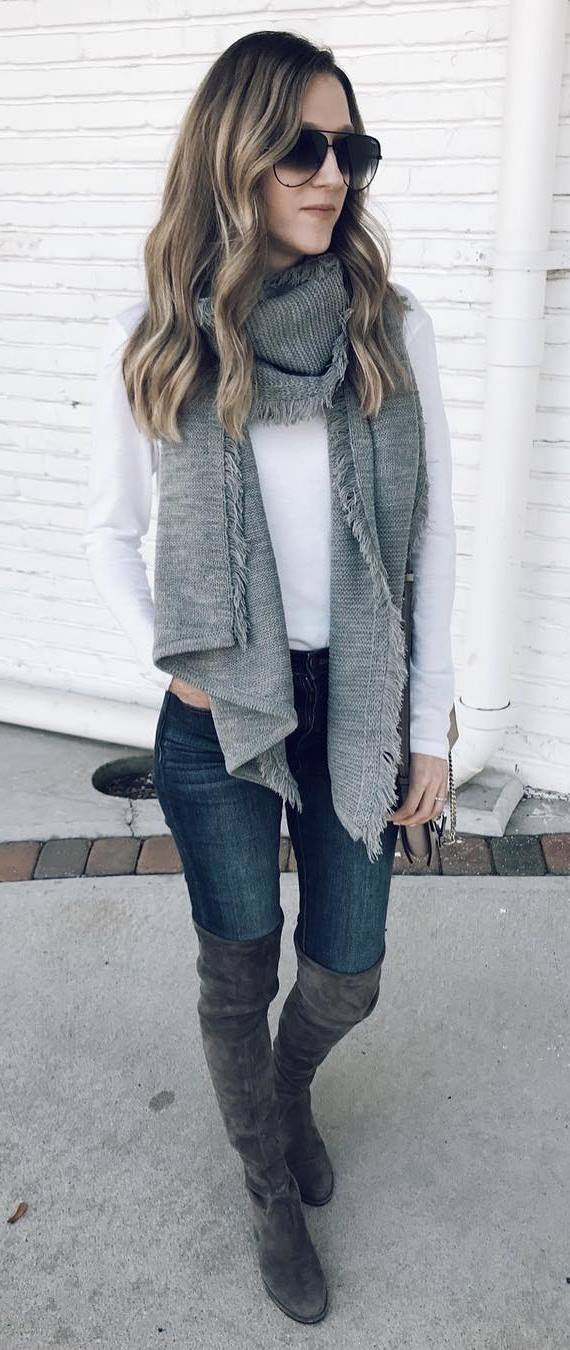 cozy outfit / grey knit scarf + white top + skinnies + over the knee boots