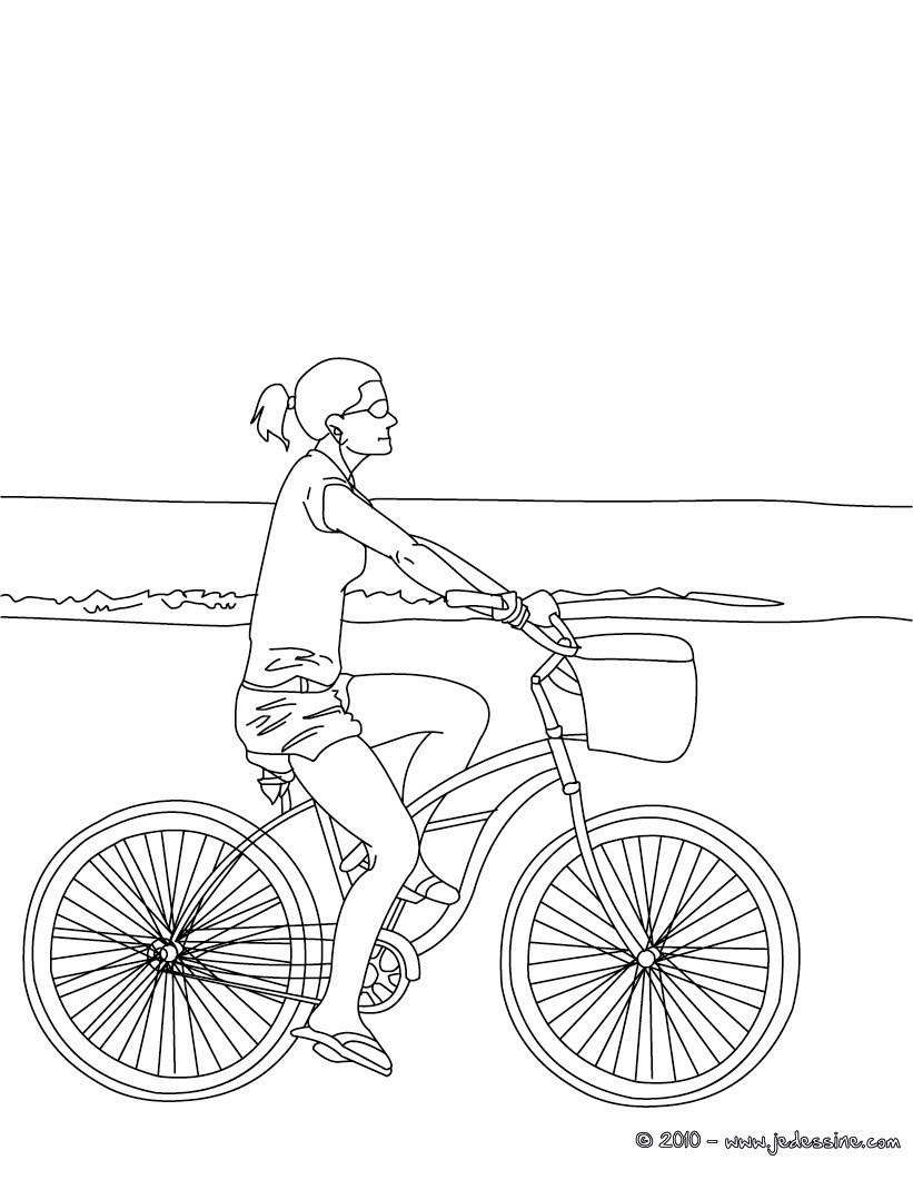 Caroline en vélo  colorier