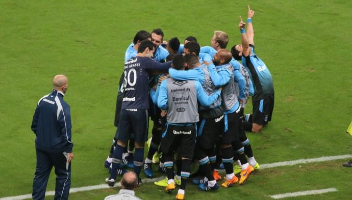 Gol do Grêmio Marcelo Oliveira Corinthians (Foto: Eduardo Moura/GloboEsporte.com)