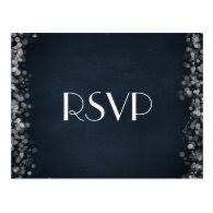Classy Black Chalkboard Bokeh Lights RSVP Postcards