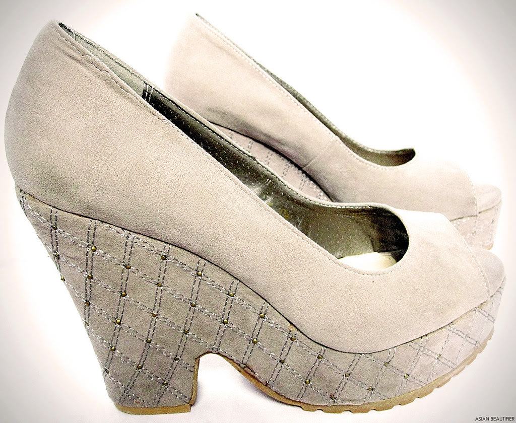Sand color Beaded Platform Wedges