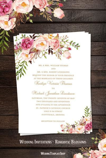 Printable Wedding Invitation Romantic Blossoms Make Your