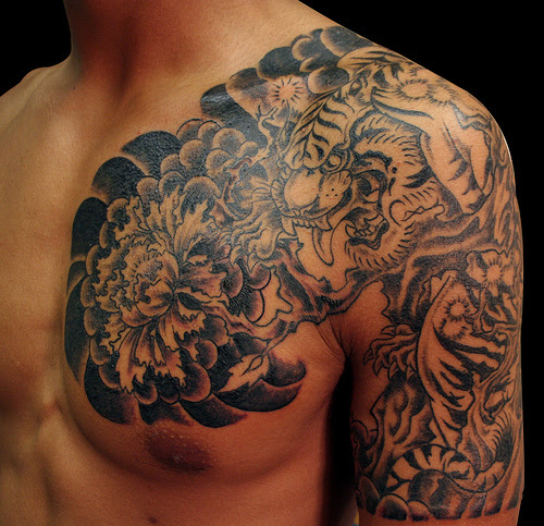 Chest And Half Sleeve Dragon And Tiger Tattoo Tattoomagz