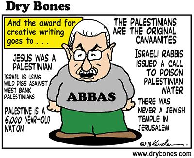dry bones cartoon, Abbas, fiction, lies, Palestine, Palestinians, history, Temple, Israel, Jews,