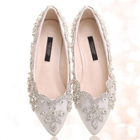 White crystal flats women wedding flats pointed toe white