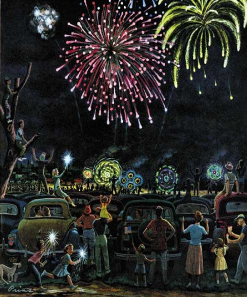 Fireworks, art by Ben Kimberly Prins.  Detail from Saturday Evening Post cover July 3, 1953.