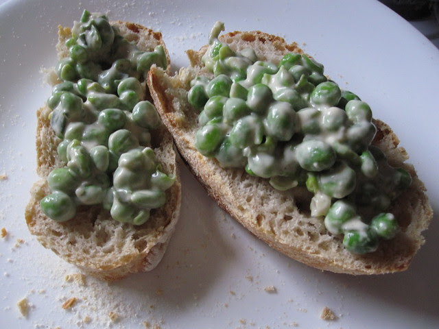 Tahini-smashed fresh peas