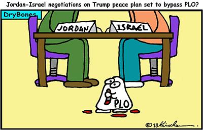 Dry Bones cartoon, Trump, peace, Jordan, Israel, PLO, West Bank, Judea, Samaria,
