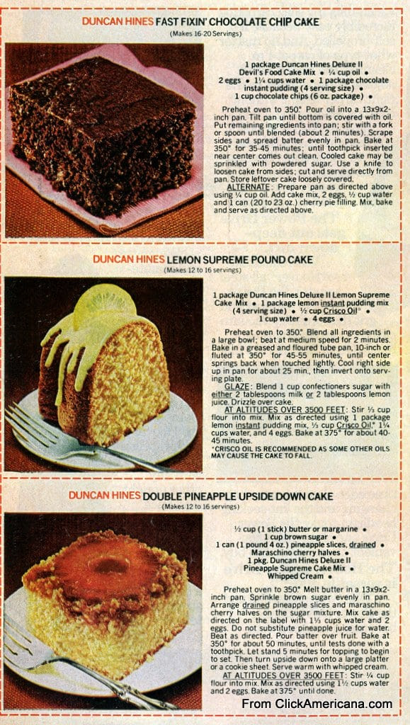 6 dessert recipes with Duncan Hines cake mix (1978 ...