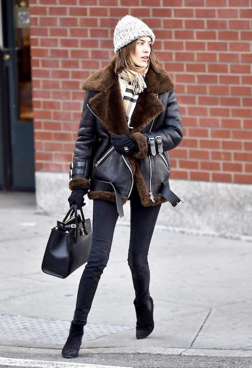 Le Fashion Blog Celebrity Style Alexa Chung Beanie Black And Brown Acne Studios Shearling Jacket Burberry Scarf Leggings Ankle Boots Via Vogue