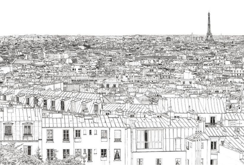 Coloriage Anti Stress Paris Toits De Paris 3
