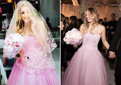 Kaley Cuoco pink Vera Wang wedding dress   Kayle Cuoco