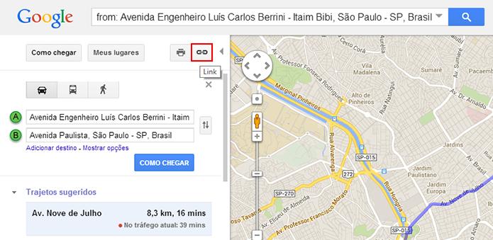 O botão de compartilhamento é mais visível no Maps antigo (Foto: Reprodução/Paulo Alves)
