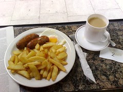 Two sausage, egg & chips