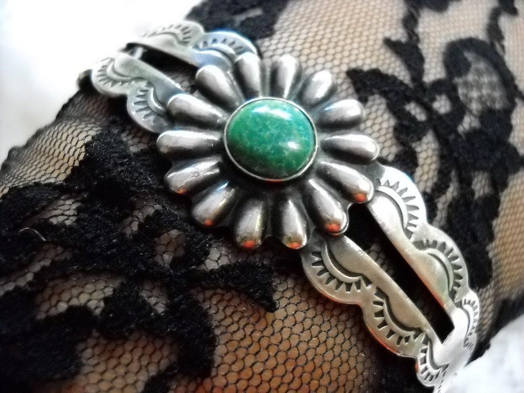 1930s Coin Silver Navajo Turquoise Cuff Bracelet, Time Raveler - Timeraveler