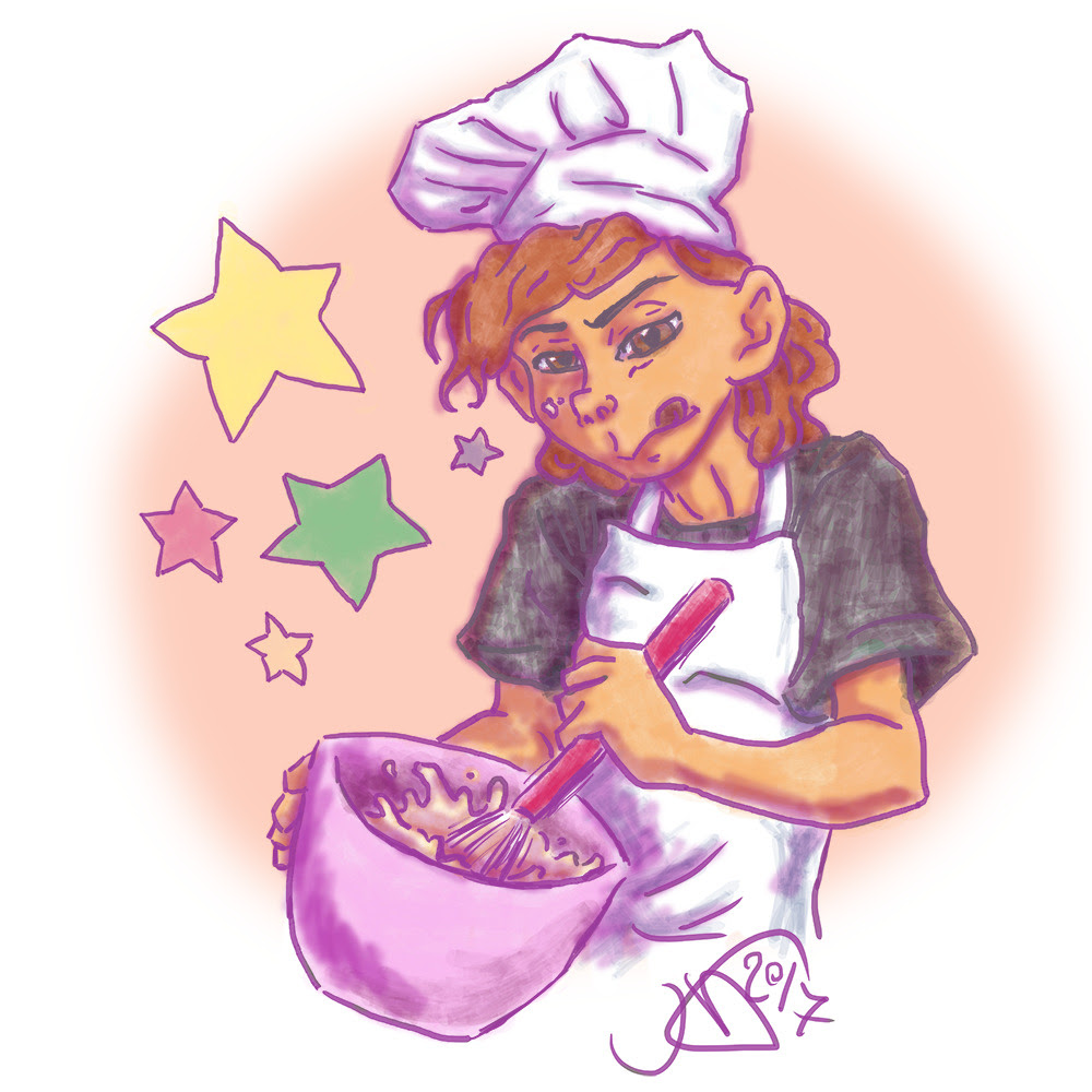 daily bad doodles (insp) day 14: young lars finally got around to finishing and posting this only took me like….2 months ¯ \_(ツ)_/¯ anyway, here's a younger lars baking