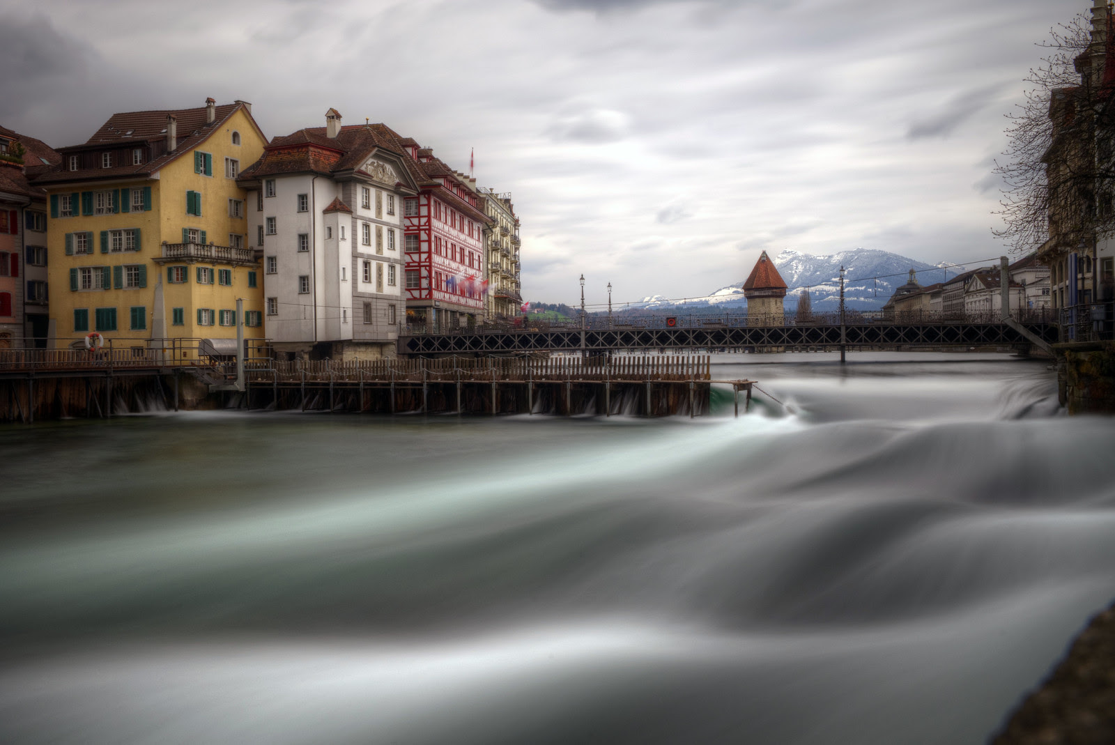Lucerne old town in bad weather