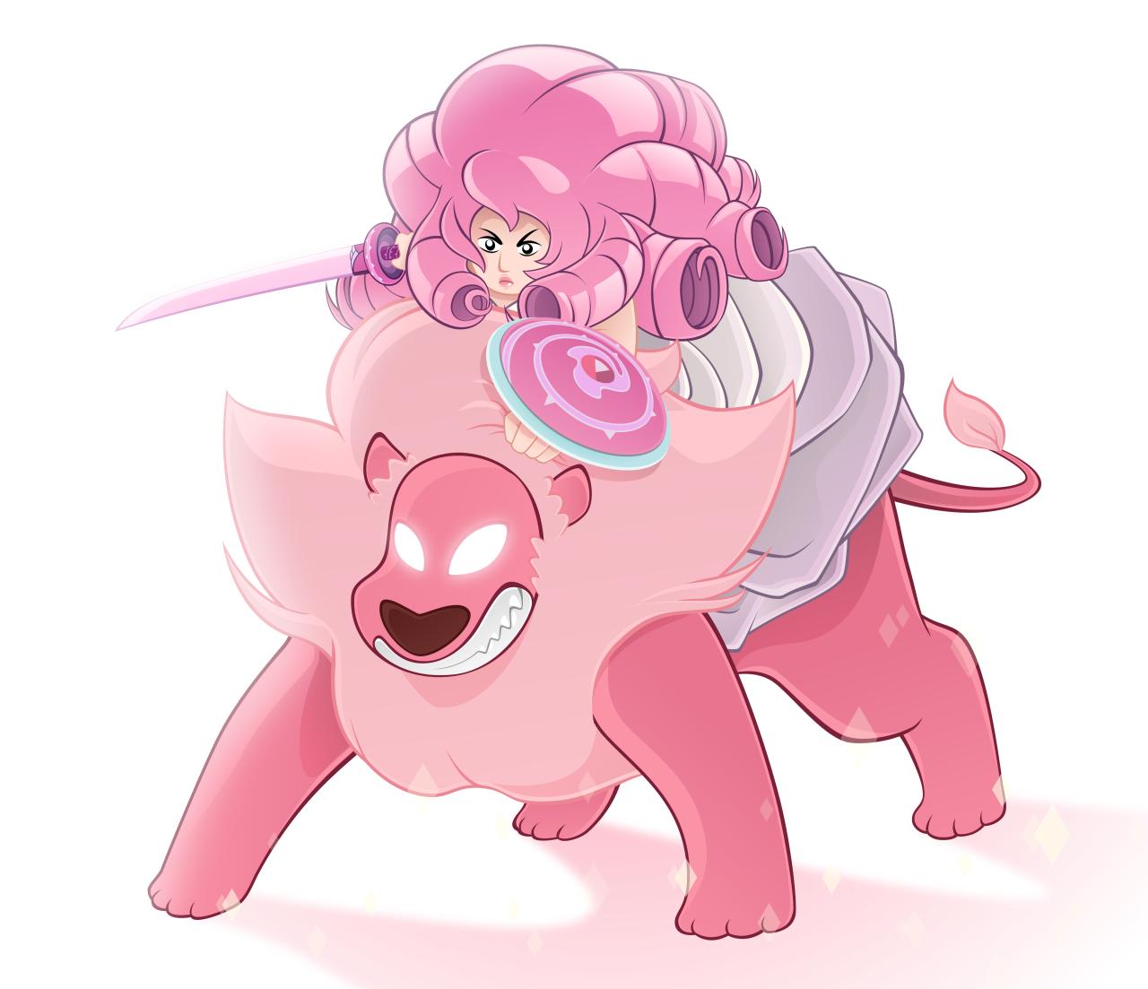 Rose Quartz + Lion (steven universe)