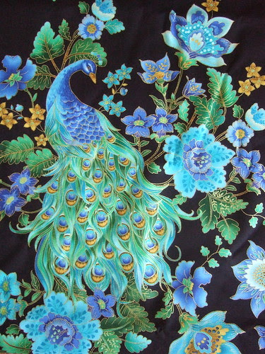 Peacock fabric for Shelby