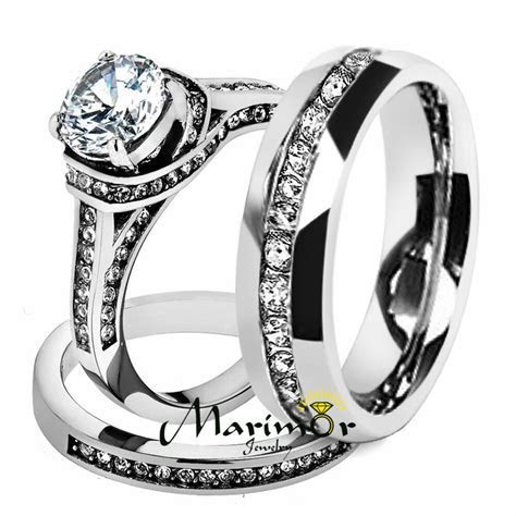 Hers & His Stainless Steel 3 Piece Cz Wedding Ring Set and