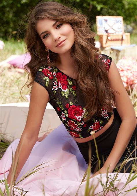 Two Piece Embroidered Prom Dress with Floral Lace Top and