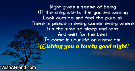 Night Gives A Sense Of Sweet Good Night Message