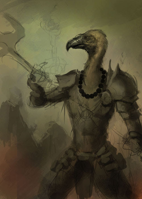 vulture, fantasy, how to draw, painting, cartoon, manga, monk,demon hunter, tutorial