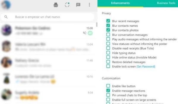 Captura de pantalla WhatsApp Web con chats ocultos gracias a extensión