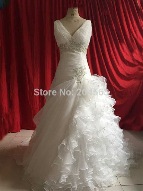 Free Shipping Appliques V neck Wedding Dresses Custom size