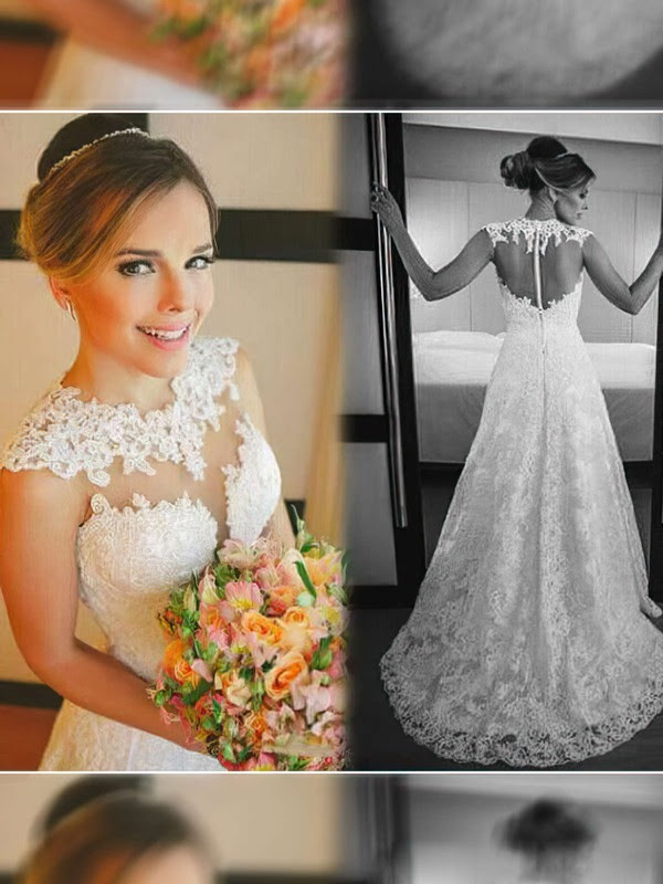 A-line Court Train Lace Satin Tulle Appliques Lace Scoop Neck Wedding Dresses #PWD00021498