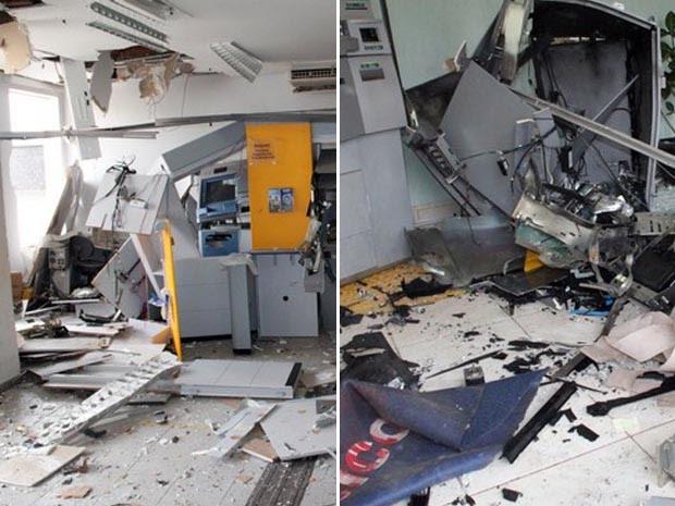 Caixas eletrônicos foram explodidos no Bancos do Brasil (à esq.) e Banco Sicoob (à dir.) em Juruaia, MG (Foto: Gerson Dias / Site Muzambinho.com.br)